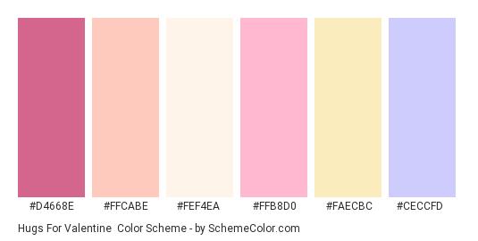 Hugs for Valentine - Color scheme palette thumbnail - #D4668E #FFCABE #FEF4EA #FFB8D0 #faecbc #CeCCFd