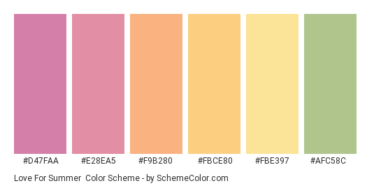 Love for Summer - Color scheme palette thumbnail - #D47FAA #E28EA5 #F9B280 #FBCE80 #FBE397 #AFC58C