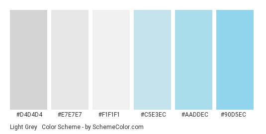 Light Grey & Blue - Color scheme palette thumbnail - #D4D4D4 #E7E7E7 #F1F1F1 #C5E3EC #AADDEC #90D5EC