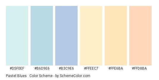 Pastel Blues & Peach - Color scheme palette thumbnail - #D5F0EF #B6D9E6 #B3C9E6 #FFEEC7 #FFE6BA #FFD8BA