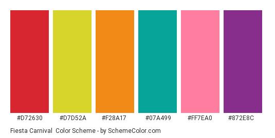 Fiesta Carnival - Color scheme palette thumbnail - #D72630 #D7D52A #F28A17 #07A499 #FF7EA0 #872E8C