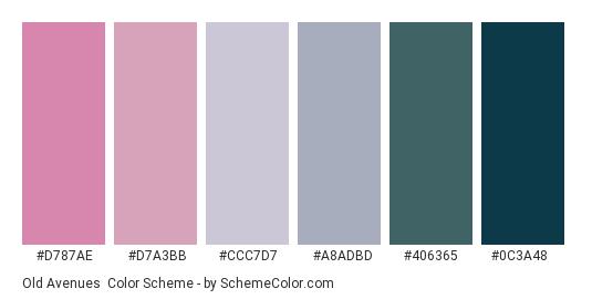 Old Avenues - Color scheme palette thumbnail - #D787AE #D7A3BB #CCC7D7 #A8ADBD #406365 #0C3A48