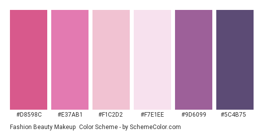 Fashion Beauty Makeup - Color scheme palette thumbnail - #D8598C #E37AB1 #F1C2D2 #F7E1EE #9D6099 #5C4B75