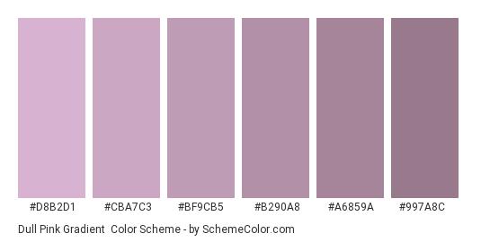 Dull Pink Gradient - Color scheme palette thumbnail - #D8B2D1 #CBA7C3 #BF9CB5 #B290A8 #A6859A #997A8C