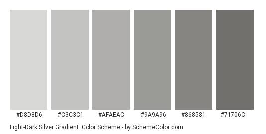 Light-Dark Silver Gradient - Color scheme palette thumbnail - #D8D8D6 #C3C3C1 #AFAEAC #9A9A96 #868581 #71706C