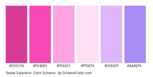 Sweet Valentine - Color scheme palette thumbnail - #D93C96 #F848B5 #FFA5E3 #FFDEF6 #DDB8FF #AA8DF6