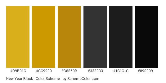 New Year Black & Gold - Color scheme palette thumbnail - #D9B01C #CC9900 #B8860B #333333 #1C1C1C #090909