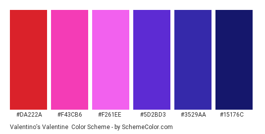 Valentino's Valentine - Color scheme palette thumbnail - #DA222A #F43CB6 #F261EE #5D2BD3 #3529AA #15176C