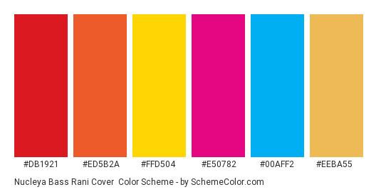Nucleya Bass Rani Cover - Color scheme palette thumbnail - #DB1921 #ED5B2A #FFD504 #E50782 #00AFF2 #EEBA55