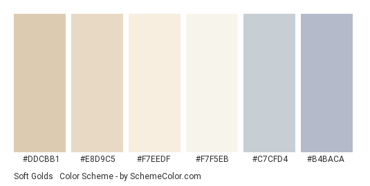 Soft Golds & Blues - Color scheme palette thumbnail - #DDCBB1 #E8D9C5 #F7EEDF #F7F5EB #C7CFD4 #b4baca