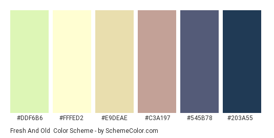 Fresh and Old - Color scheme palette thumbnail - #DDF6B6 #FFFED2 #e9deae #C3A197 #545B78 #203A55