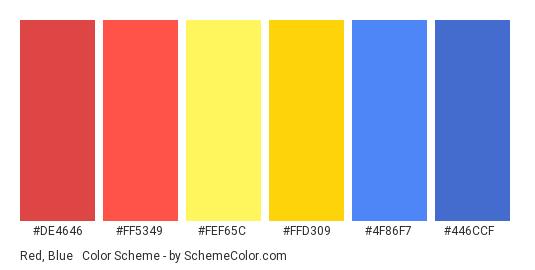 Red, Blue & Yellow - Color scheme palette thumbnail - #DE4646 #FF5349 #FEF65C #FFD309 #4F86F7 #446CCF