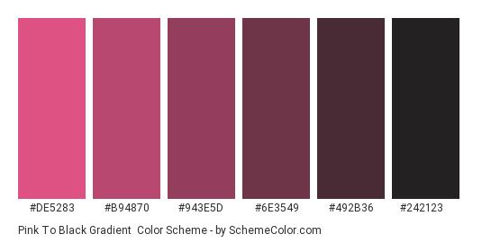 Pink to Black Gradient - Color scheme palette thumbnail - #DE5283 #B94870 #943E5D #6E3549 #492B36 #242123