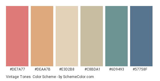 Vintage Tones - Color scheme palette thumbnail - #DE7A77 #DEAA7B #e3d2b8 #C8BDA1 #6D9493 #57758F