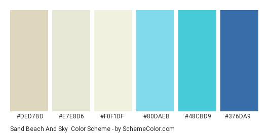 Sand Beach and Sky - Color scheme palette thumbnail - #DED7BD #E7E8D6 #F0F1DF #80DAEB #48CBD9 #376DA9