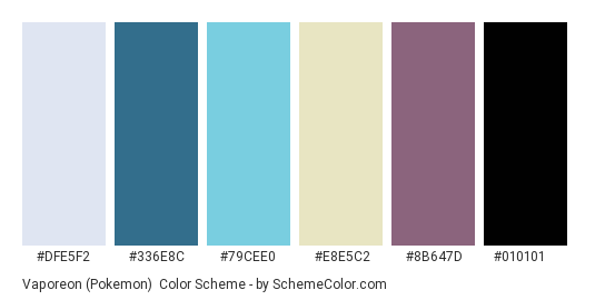 Vaporeon (Pokemon) - Color scheme palette thumbnail - #DFE5F2 #336E8C #79CEE0 #E8E5C2 #8B647D #010101