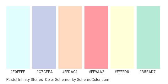 Pastel Infinity Stones - Color scheme palette thumbnail - #E0FEFE #C7CEEA #FFDAC1 #FF9AA2 #FFFFD8 #B5EAD7