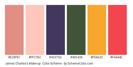 James Charles's Make-up - Color scheme palette thumbnail - #E28F81 #FFC7BC #43375D #405438 #F9A62C #F4444E