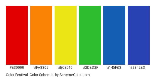 Color Festival - Color scheme palette thumbnail - #E30000 #FA8305 #ECE516 #2DBD2F #145FB3 #2842B3