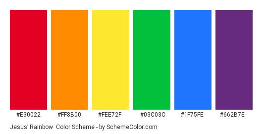 Jesus' Rainbow - Color scheme palette thumbnail - #E30022 #FF8B00 #FEE72F #03C03C #1F75FE #662B7E