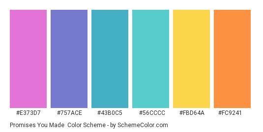 Promises You Made - Color scheme palette thumbnail - #E373D7 #757ACE #43B0C5 #56CCCC #FBD64A #FC9241