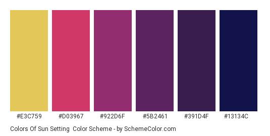 Colors of Sun Setting - Color scheme palette thumbnail - #E3C759 #D03967 #922D6F #5B2461 #391D4F #13134c