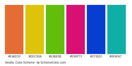 Swalla - Color scheme palette thumbnail - #E46D33 #DDC30A #63BE0B #D90F73 #073DD1 #0FAFA7