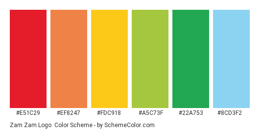 Zam Zam Logo - Color scheme palette thumbnail - #E51C29 #EF8247 #FDC918 #A5C73F #22A753 #8CD3F2