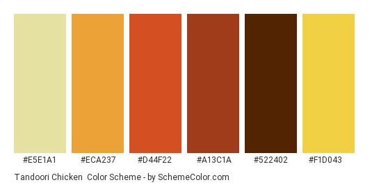 Tandoori Chicken - Color scheme palette thumbnail - #E5E1A1 #ECA237 #D44F22 #A13C1A #522402 #F1D043