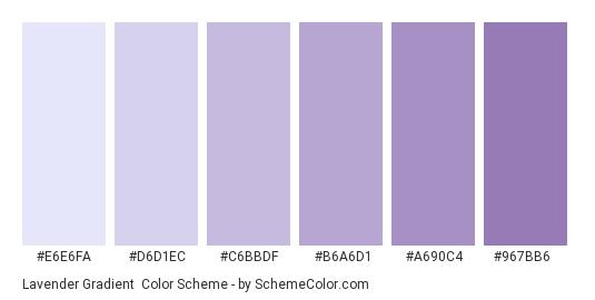 Lavender Gradient - Color scheme palette thumbnail - #E6E6FA #D6D1EC #C6BBDF #B6A6D1 #A690C4 #967BB6