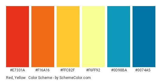 Red, Yellow & Blue - Color scheme palette thumbnail - #E7331A #F16A16 #FFC82F #F6FF92 #0D98BA #0074A5