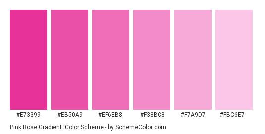 Pink Rose Gradient - Color scheme palette thumbnail - #E73399 #EB50A9 #EF6EB8 #F38BC8 #F7A9D7 #FBC6E7
