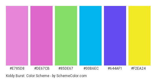 Kiddy Burst - Color scheme palette thumbnail - #E785D8 #DE67CB #85DE67 #00b6ec #644af1 #f2ea24