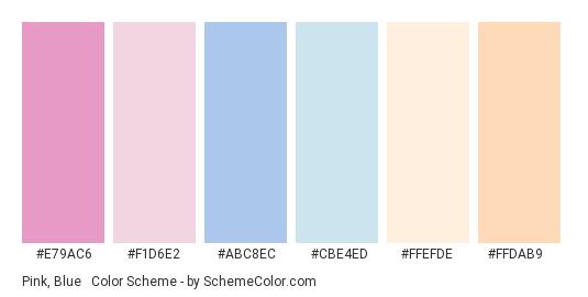 Pink, Blue & Peach Pastel - Color scheme palette thumbnail - #E79AC6 #F1D6E2 #ABC8EC #cbe4ed #FFEFDE #FFDAB9