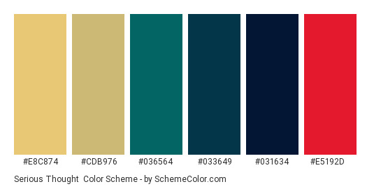 Serious Thought - Color scheme palette thumbnail - #E8C874 #CDB976 #036564 #033649 #031634 #E5192D