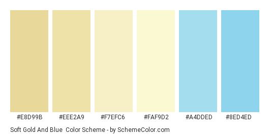 Soft Gold and Blue - Color scheme palette thumbnail - #E8D99B #EEE2A9 #F7EFC6 #FAF9D2 #A4DDED #8ED4ED