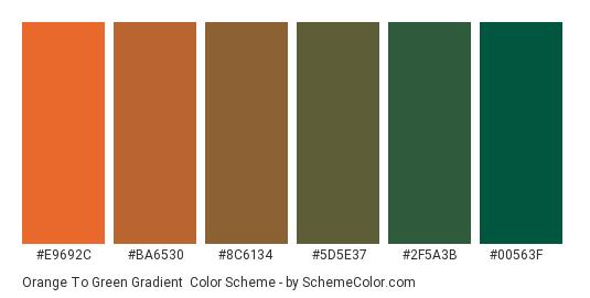 Orange to Green Gradient - Color scheme palette thumbnail - #E9692C #BA6530 #8C6134 #5D5E37 #2F5A3B #00563F