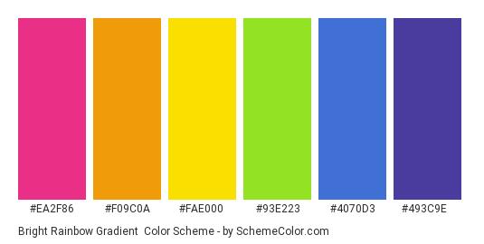 Bright Rainbow Gradient - Color scheme palette thumbnail - #EA2F86 #F09C0A #FAE000 #93E223 #4070D3 #493C9E