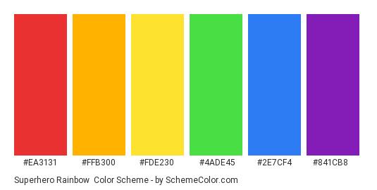 Superhero Rainbow - Color scheme palette thumbnail - #EA3131 #FFB300 #FDE230 #4ADE45 #2E7CF4 #841CB8