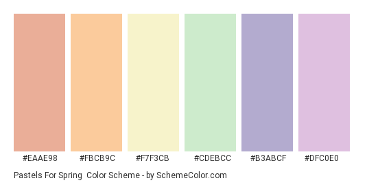 Pastels for Spring - Color scheme palette thumbnail - #EAAE98 #FBCB9C #F7F3CB #CDEBCC #b3abcf #dfc0e0