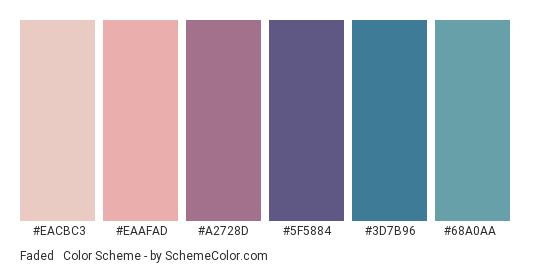 Faded & Dull - Color scheme palette thumbnail - #EACBC3 #EAAFAD #A2728D #5F5884 #3D7B96 #68A0AA
