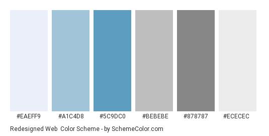Redesigned web - Color scheme palette thumbnail - #EAEFF9 #A1C4D8 #5C9DC0 #BEBEBE #878787 #ECECEC