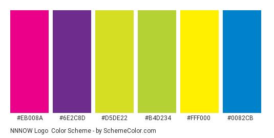 NNNOW Logo - Color scheme palette thumbnail - #EB008A #6E2C8D #D5DE22 #B4D234 #FFF000 #0082CB