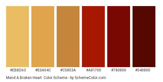 Mend a Broken Heart - Color scheme palette thumbnail - #EBBD63 #E0A54C #C5853A #A81700 #780800 #540800