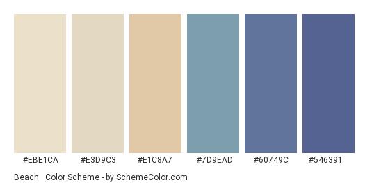 Beach & Calm Sea - Color scheme palette thumbnail - #EBE1CA #E3D9C3 #E1C8A7 #7D9EAD #60749C #546391