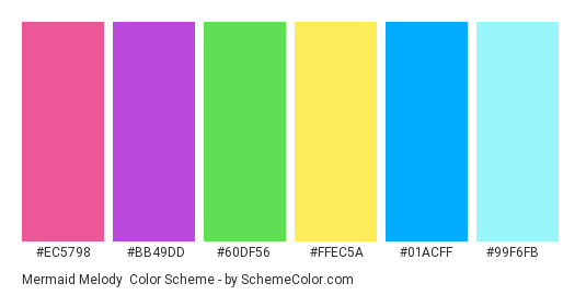 Mermaid Melody - Color scheme palette thumbnail - #EC5798 #BB49DD #60DF56 #FFEC5A #01ACFF #99F6FB