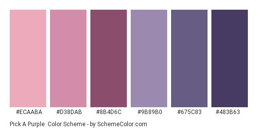 Pick a Purple - Color scheme palette thumbnail - #ECAABA #D38DAB #8B4D6C #9B89B0 #675C83 #483B63