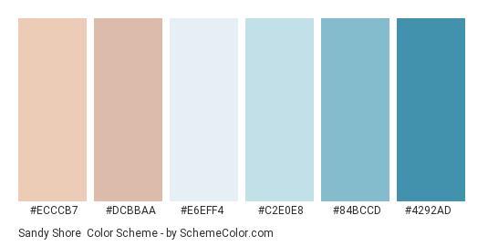 Sandy Shore - Color scheme palette thumbnail - #ECCCB7 #DCBBAA #E6EFF4 #C2E0E8 #84BCCD #4292AD