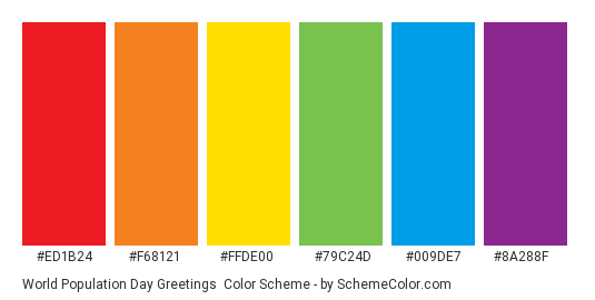 World Population Day Greetings - Color scheme palette thumbnail - #ED1B24 #F68121 #FFDE00 #79C24D #009DE7 #8A288F