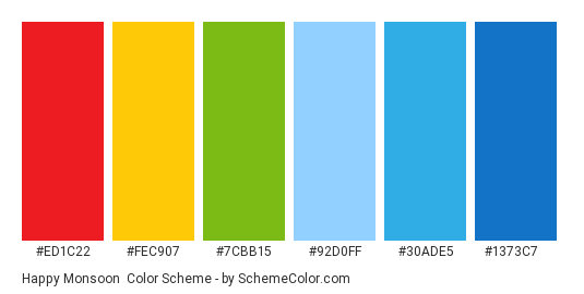 Happy Monsoon - Color scheme palette thumbnail - #ED1C22 #FEC907 #7CBB15 #92D0FF #30ADE5 #1373C7